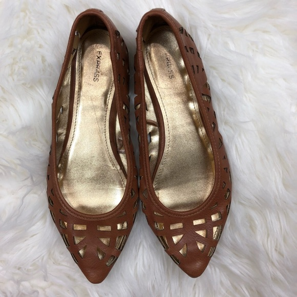 a356e5776 Express Shoes | Camel Brown Gold Laser Cut Pointy Flats | Poshmark